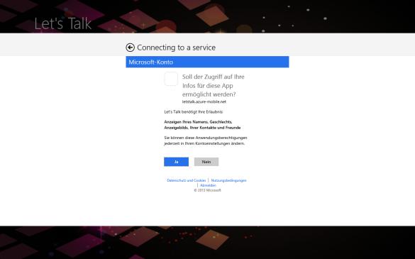 Windows Store App - Bestätigung der angeforderten Berechtigungen