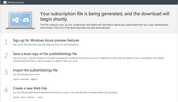 Windows Azure Management Portal - Publisher-Datei