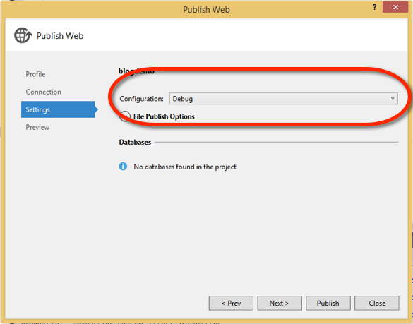 Publish Settings (Visual Studio)