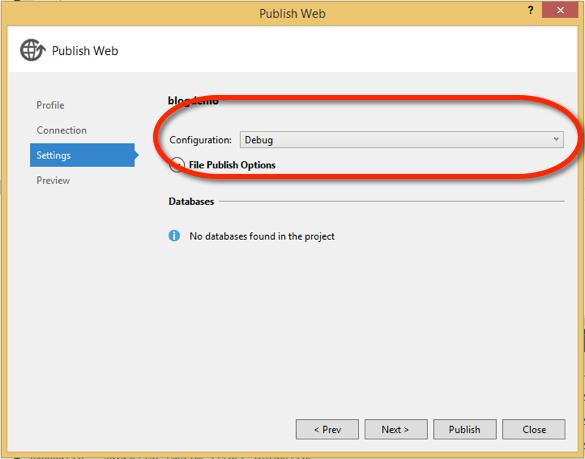 Publish Settings (Visual Studio)