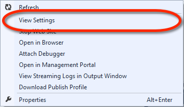 Visual Studio Server Explorer - Windows Azure Web Site Kontextmenü - View Settings