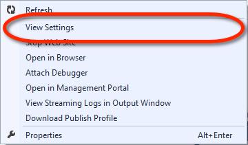 Visual Studio Server Explorer - Windows Azure Web Site Kontextmenü - View Settings
