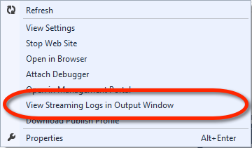 Visual Studio Server Explorer - Windows Azure Web Site Kontextmenü - View Streaming Logs in Output Windows