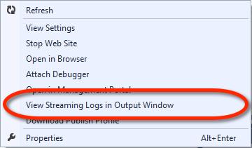 Visual Studio Server Explorer - Windows Azure Web Site Kontextmenü - View Streaming Logs in Output Windows