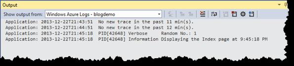 Visual Studio Output-Fenster - Log Streaming - Application Log