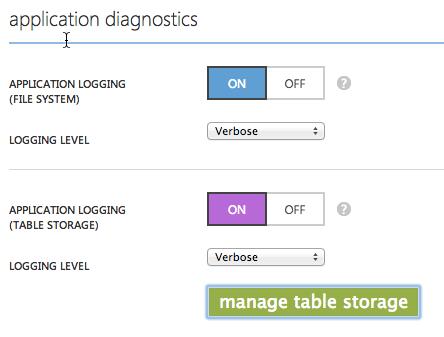 Application Diagnostics - Table Storage verwenden