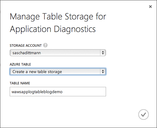 Application Diagnostics - Table Storage Tabelle anlegen
