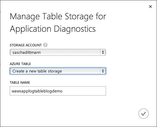 Application Diagnostics - Table Storage Tabelle anlegen