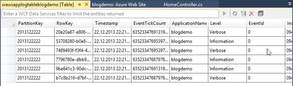 Windows Azure Table Storage - Tabellen-Ansicht