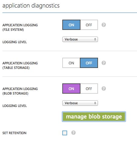 Application Diagnostics - Blob Storage verwenden