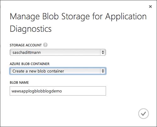 Application Diagnostics - Blob Storage Container anlegen