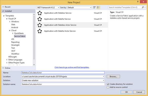 Visual Studio: Stateless Actor Vorlage