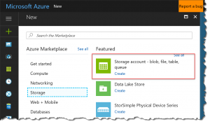 New Azure Storage Account